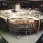 Noch wenige Wochen steht das Modell des Millerntor-Stadions in der Rindermarkthalle - hier die Südwestansicht mit der Kita Piraten-Nest