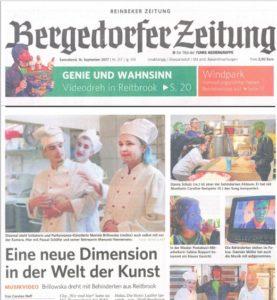 Die Entstehung des 2. Video der AWG Reitbrook auf der Titelseite der Bergedorfer Zeitung